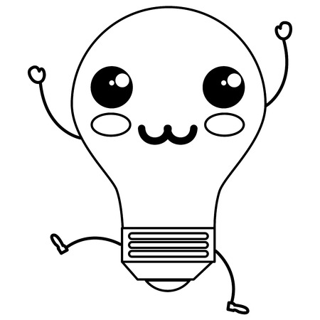 bulb light kawaii character vector illustration design Stock Vector - 82990439