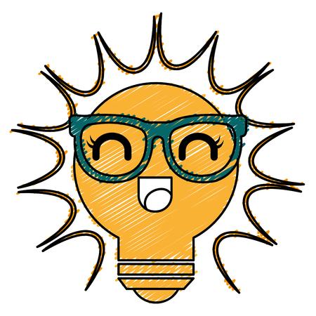 bulb light kawaii character vector illustration design