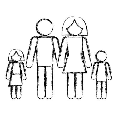 가족 실루엣 격리 아이콘 벡터 일러스트 디자인