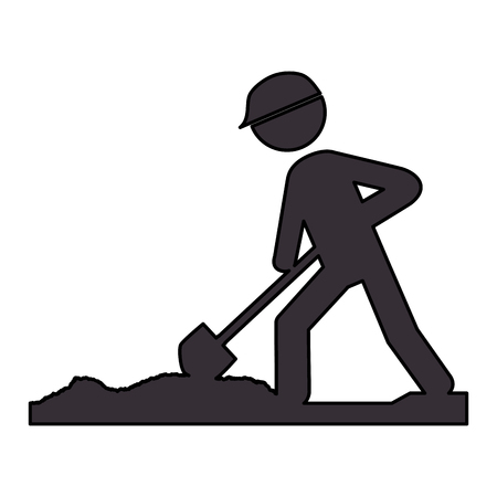 worker with shovel silhouette vector illustration design