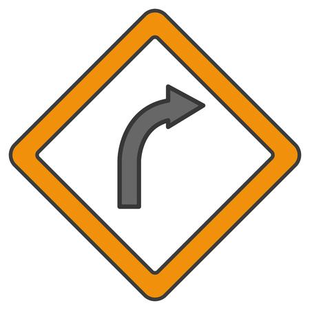 交通信号右折右側のベクトル イラスト デザイン