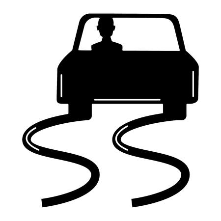 滑りやすい路面分離アイコン ベクトル イラスト デザイン  イラスト・ベクター素材