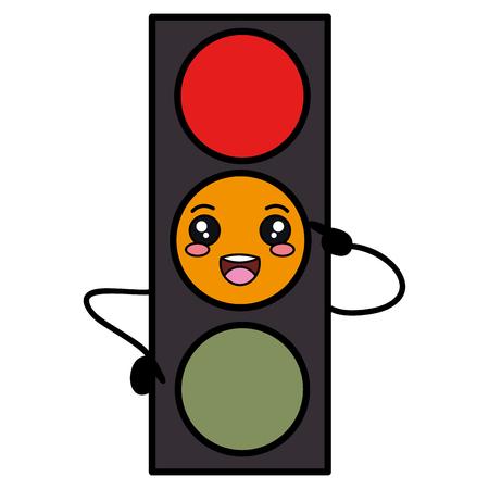 street lamp: traffic light kawaii character vector illustration design
