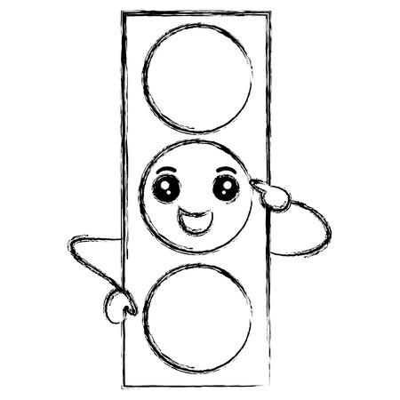 신호등 kawaii 문자 벡터 일러스트 레이 션 디자인 스톡 콘텐츠 - 83062523