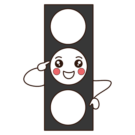 traffic light kawaii character vector illustration design