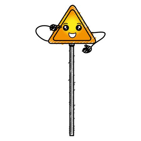 traffic signal kawaii character vector illustration design Ilustrace