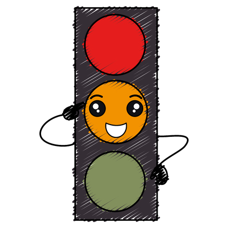 traffic light kawaii character vector illustration design