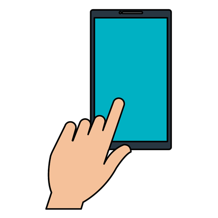 Hand user with phone device isolated icon illustration design. Illusztráció