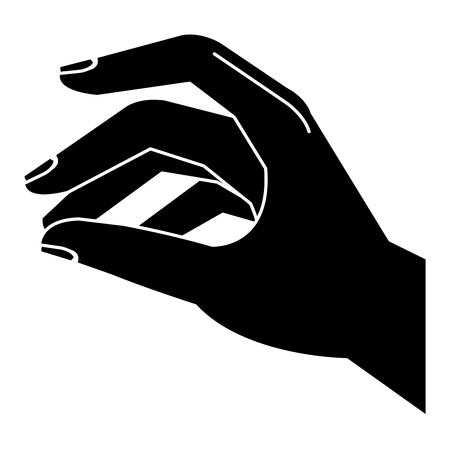 격리 된 아이콘 벡터 일러스트 디자인을 복용하는 손