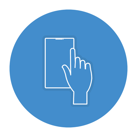 touch screen phone: hand user with smartphone device isolated icon vector illustration design Illustration