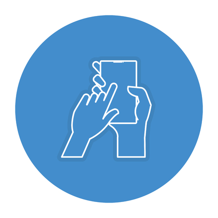 hand user with smartphone device isolated icon vector illustration design Stock Photo