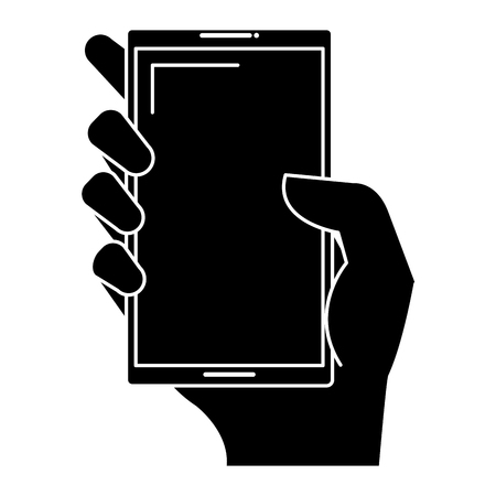 touch screen phone: hand user with smartphone device isolated icon vector illustration design Stock Photo