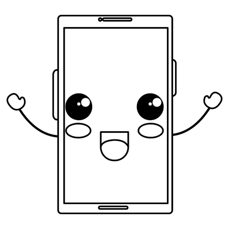 smartphone device kawaii character vector illustration design