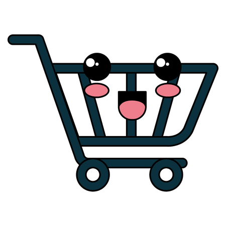shopping cart kawaii character vector illustration design