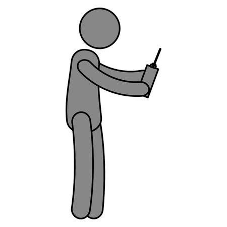 ドローン制御ベクトル イラスト デザインと人間の姿  イラスト・ベクター素材
