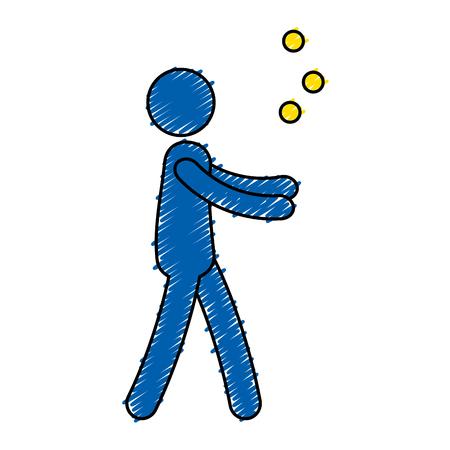 Persoon die met ontwerp van de ballen het vectorillustratie jongleren met