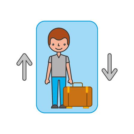 traveler with suitcase avatar in elevator vector illustration design