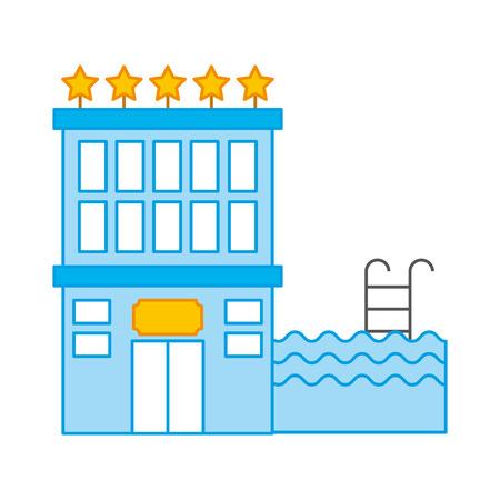 edificio del hotel con cinco estrellas ilustración vectorial diseño