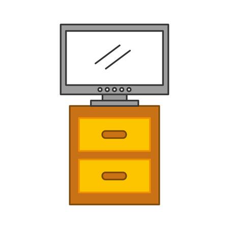 Comodino con TV a plasma isolato icona illustrazione vettoriale di progettazione Archivio Fotografico - 83107159