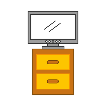 nightstand with tv plasma isolated icon vector illustration design Illusztráció