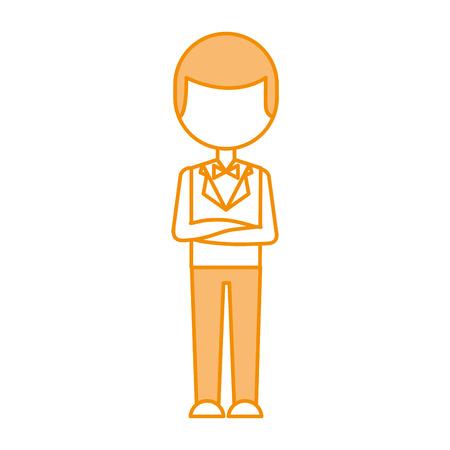 elegant man with bowntie vector illustration design