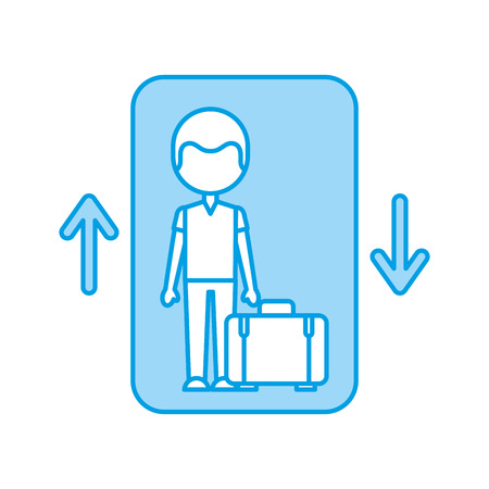traveler with suitcase avatar in elevator vector illustration design