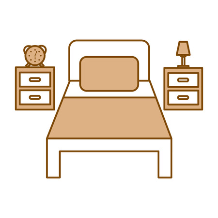 bed hotel with nightstand vector illustration design Illustration