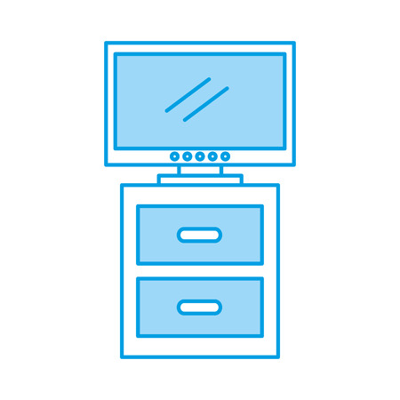 nightstand with tv plasma isolated icon vector illustration design Banco de Imagens - 83132790