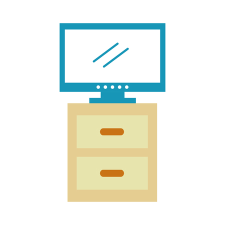 Comodino con progettazione dell'illustrazione di vettore dell'icona isolata plasma della TV Archivio Fotografico - 83133304
