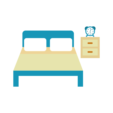 bed hotel with nightstand vector illustration design Çizim