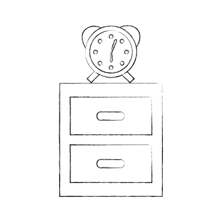 nightstand with alarm clock isolated icon vector illustration design Illustration