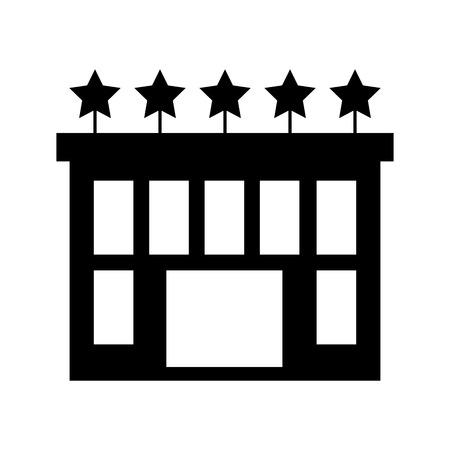 five star: hotel building with five stars vector illustration design