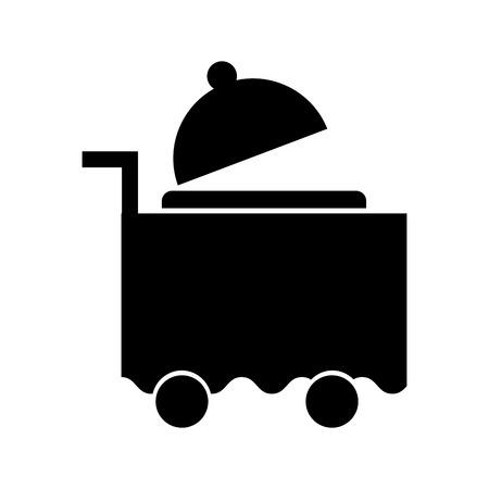트레이 서버 격리 된 아이콘 벡터 일러스트 레이 션 디자인으로 카트 룸 서비스 디자인