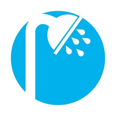 シャワーのタップ絶縁アイコン ベクトル イラスト デザイン
