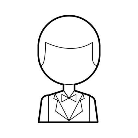 Hombre elegante con diseño de ilustración vectorial bowntie Foto de archivo - 83139192