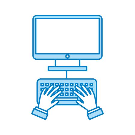 コンピューター デスクトップの分離アイコン ベクトル イラスト デザインを持つユーザー  イラスト・ベクター素材