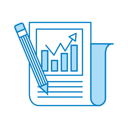 Statistical report with pencil vector illustration design