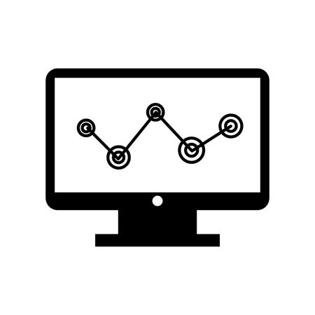 統計とコンピューターのデスクトップ ベクトル イラスト デザイン  イラスト・ベクター素材