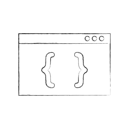template computer with brackets vector illustration design Illustration