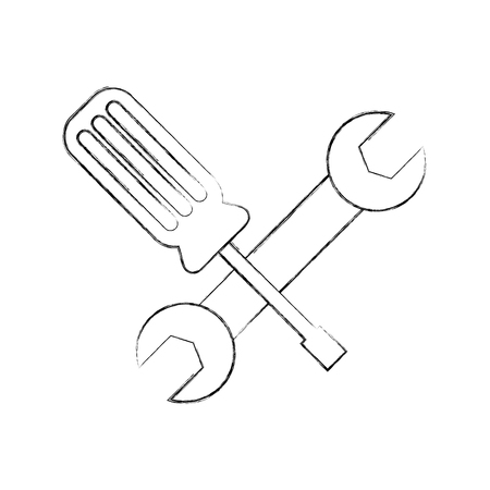 wrench and screwdriver icon vector illustration design