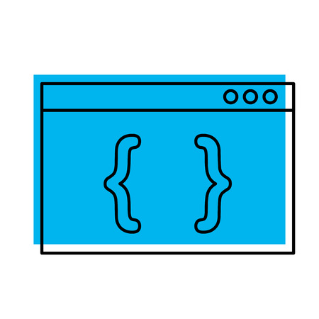 A computer template with brackets vector illustration design