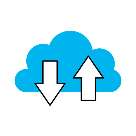 Cloud computing with up and down  arrows vector illustration design