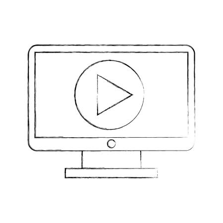 再生ボタン ベクトル イラスト デザインとコンピューターのデスクトップ。