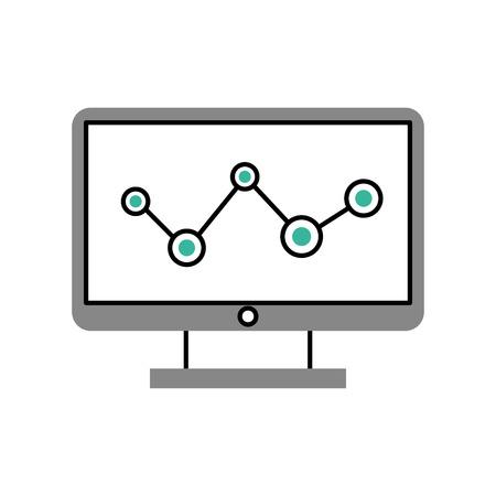 統計とコンピューターのデスクトップ ベクトル イラスト デザイン 写真素材 - 83163195