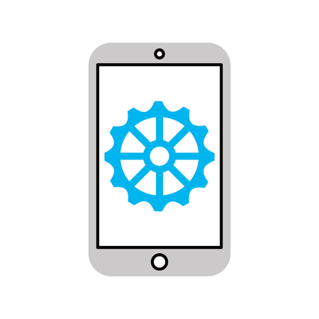 smartphone device with gear vector illustration design Ilustrace
