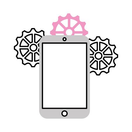Dispositivo smartphone con disegno illustrazione vettoriale ingranaggio Archivio Fotografico - 83163786