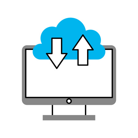 Computer desktop with cloud computing vector illustration design