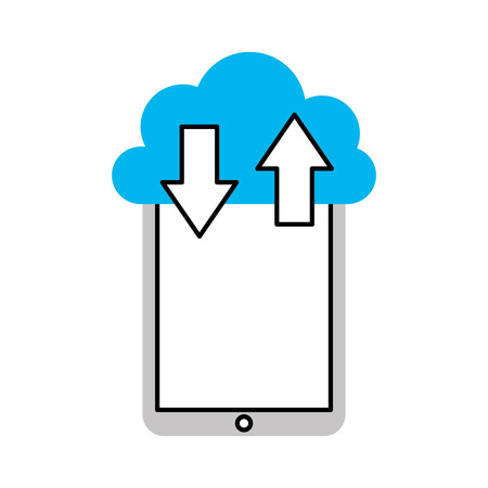 smartphone device with cloud computing vector illustration design