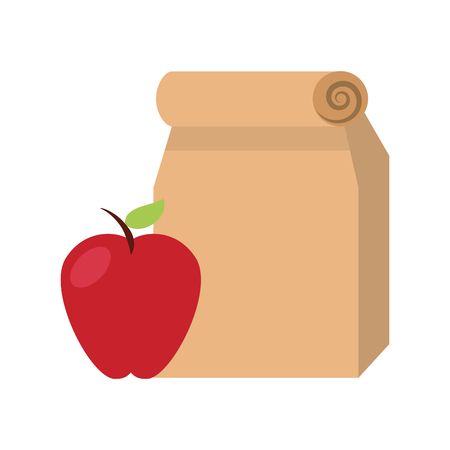 Lunch bag in paper bag with apple vector illustration design Stock Vector - 83171296