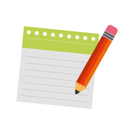 notebook sheet with pencil vector illustration design Illustration